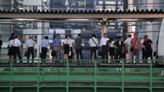 Elevated railtrack in Akihabara, Tokyo, Japan Stock Footage