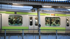 Stock Video Footage of Train, Elevated railtrack in Akihabara, Tokyo, Japan