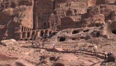 921. Jordan. Desert rock-cut structures Stock Footage
