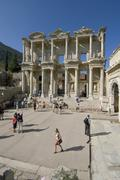 turkey ephesus excavation library of celsus erected 135 ad by c. aquila as a  - stock photo
