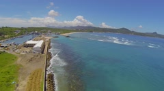 High aerial from Kenting's Houbihu Fishing Port Stock Footage