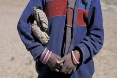 Stock Photo of Child with dried dung under his arm Tibet
