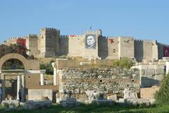 Turkey selcuk near ephesus citadel and church of s. john johannes on the ayas Stock Photos