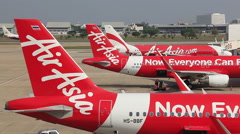Air Asia Aircrafts Airport Stock Footage