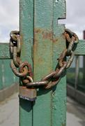 Liverpool GBR 22 Aug 2005  Chain and lock at an entrance gate in Liverpool Stock Photos