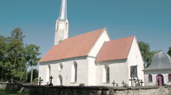 An old white church of a small town in viake-maarja, fs700 odyssey 7q Stock Footage