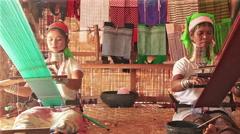 Padaung Women Weav - stock footage