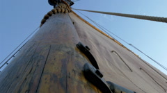 A sail mast of the ship with a big cloth for sailing, gh4 Stock Footage