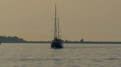 A small yacht on sail on the ocean water, gh4 Stock Footage