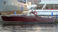 A small vintage like yacht for private use on dock, gh4 Stock Footage