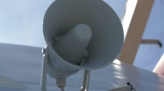 Stock Video Footage of a white small megaphone attached on the yacht, gh4