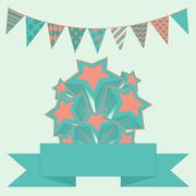 party bunting background with stars and banner - stock illustration