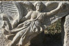 Stock Photo of turkey ephesus excavation relief of the goddess nike