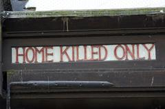 Home killed only sign ata butchery in salisbury wiltshire england Stock Photos
