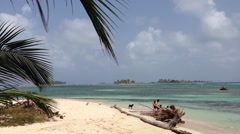 Kids playing at the San Blas Islands in Panama Stock Footage