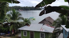 Little boat Island ferry from Bocas Del Toro islands, panama Stock Footage