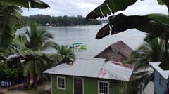 Little boat Island ferry from Bocas Del Toro islands, panama Stock Footage