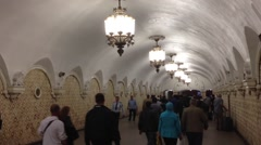 Busy crowd in Metro station in Moscow, Kremlin - stock footage