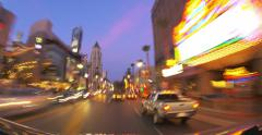 POV driving up and down Hollywood Blvd at sunset. 4K timelapse. - stock footage