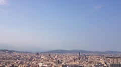 View from Cable car going down from the Montjuïc hill in Barcelona, Spain Stock Footage