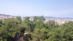 View from Cable car going up to the Montjuïc hill in Barcelona, Spain Stock Footage