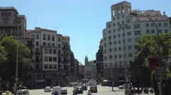 Driving through Barcelona Spain in a sightseeing bus Stock Footage