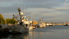 4K Fishing Boats at Sunset Stock Footage