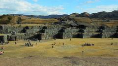 Saqsaywaman - Sacred Valley, Peru -  Tourists visiting Inca ruins and temples - stock footage