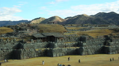 Saqsaywaman - Sacred Valley, Peru -  Tourists visiting Inca ruins and temples Stock Footage