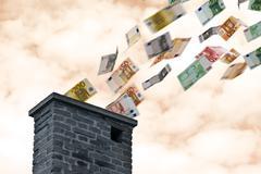 euro money flies up the chimney - stock illustration