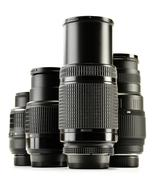 Photo zoom lenses isolated on white background. Stock Photos