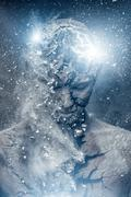 man with conceptual spiritual body art - stock illustration