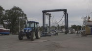 Stock Video Footage of Boatyard Hoist