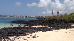 Pan from a beach in Santa Cruz, Galapagos Islands, Ecuador - stock footage