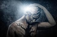 Stock Photo of man with conceptual spiritual body art