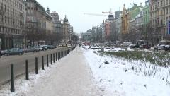 963. Prague. Car passes a snowy road Stock Footage