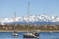Sailing boats in port of ushuaia, tierra del fuego, patagonia, argentina Stock Photos