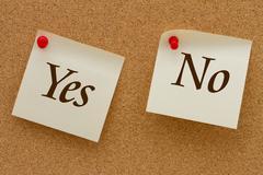 Yes versus no Stock Photos