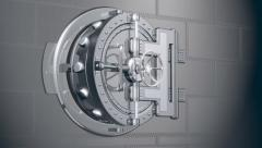 Bank safe door 3d animation Stock Footage