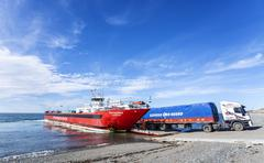 lorry departing patagonia ferry. - stock photo