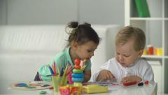 Kids Painting Pictures Stock Footage