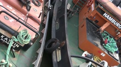 4k Towboats at piers diagonale pan extreme close up Stock Footage
