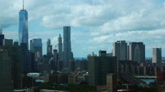 Stock Video Footage of 4k Timelapse Freedom tower world trade center brooklyn bridge day clouds