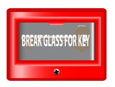 break glass for key - stock illustration