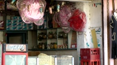 Egypt Red Sea City of Safaga 024 view into primitive groceries shop Stock Footage