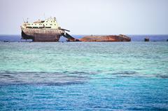 The sunken shipwreck. Stock Photos