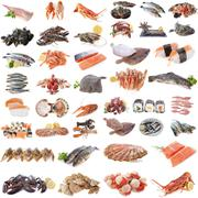 seafood, fish and shellfish - stock photo