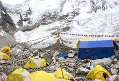 Tents in everest base camp in cloudy day, nepal. Stock Photos
