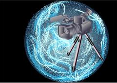 Camcorder on abstract background Stock Illustration