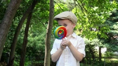 Young Boy Playing With Sucker 2 - stock footage